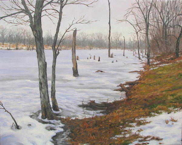 Landscape Poster featuring the painting Frozen Lake by Stephen Howell