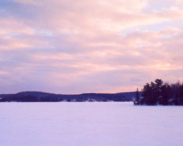 Landscape Poster featuring the photograph Frozen Lake Sunset by Lyle Crump