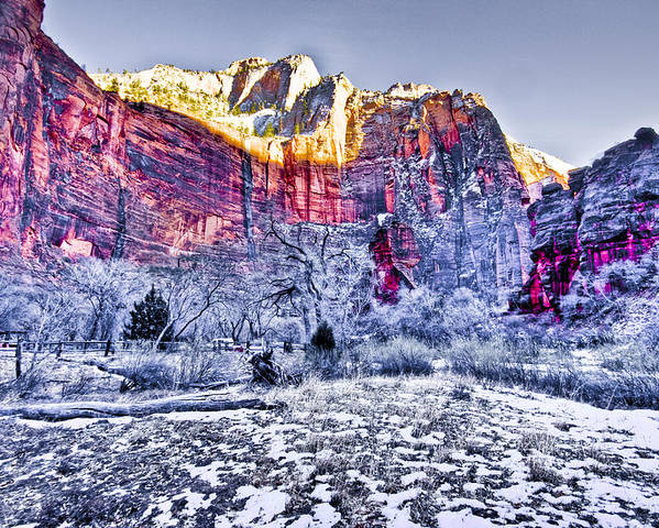 Landscape Poster featuring the digital art Frozen Zion by Ches Black