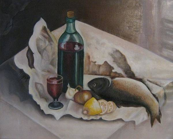 Still Life Poster featuring the painting Frugal Meal by Netka Dimoska