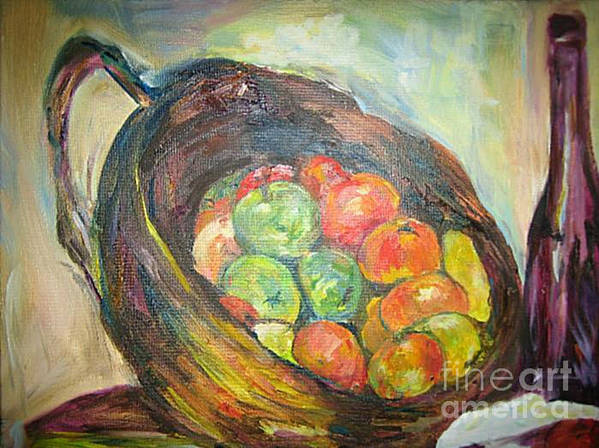 Still Life Poster featuring the painting Fruit Basket And Wine by Impressionist FineArtist Tucker Demps Collection