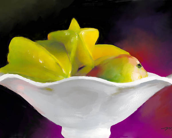 Star Poster featuring the digital art Fruit Bowl by Michelle Wiarda-Constantine