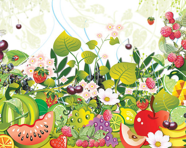 Fruits Poster featuring the digital art Fruit Garden by Lesley Smitheringale