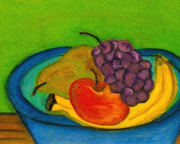 Still Life Poster featuring the drawing Fruit In Bowl by Katina Cote