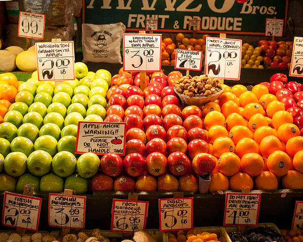 Seattle Poster featuring the photograph Fruit Stand by Paul Bartoszek