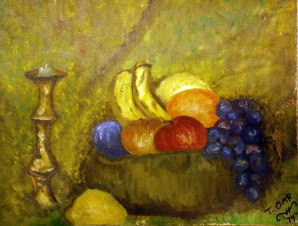 Still Life Poster featuring the painting Fruitbowl And Candle by Tammera Malicki-Wong