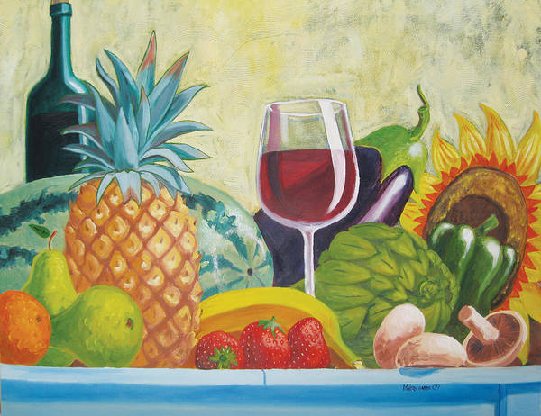 Pineapple Poster featuring the painting Fruits And Vegetables by D T LaVercombe