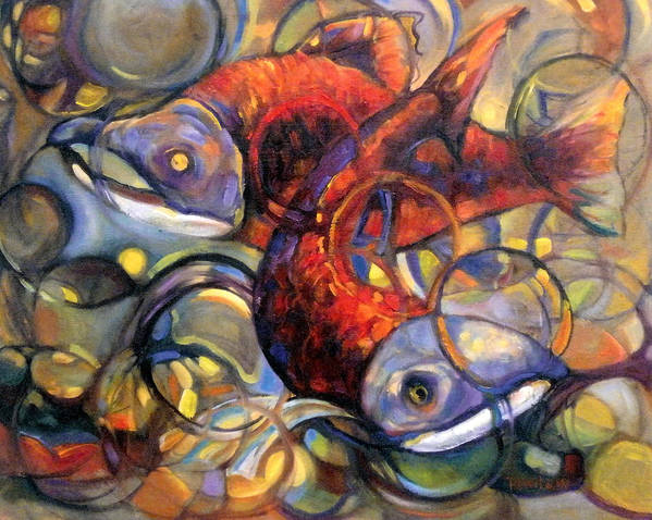 Salmon Poster featuring the painting Full Circle by Peggy Wilson