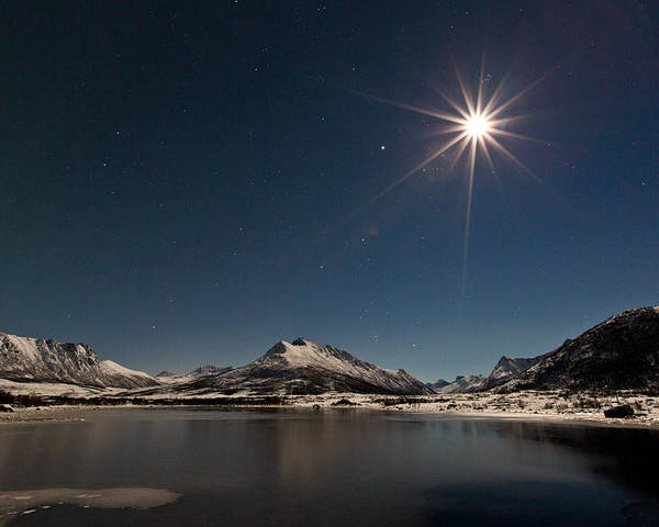 Landscape Poster featuring the photograph Full Moon In The Arctic by Frank Olsen