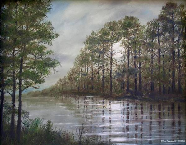 Moonscape Poster featuring the painting Full Moon On The River by Kathleen McDermott