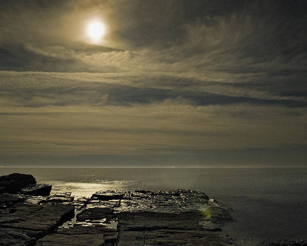 Acadia Poster featuring the photograph Full Moon Over Seawall by Jack Goldberg