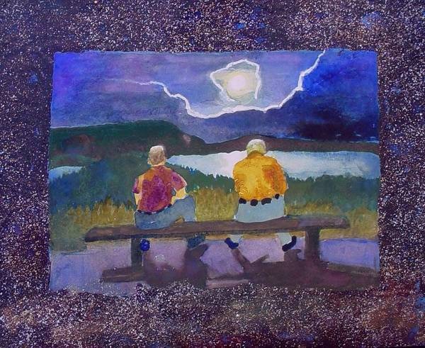 Moon Poster featuring the painting Full Moon Rising by Helen Musser