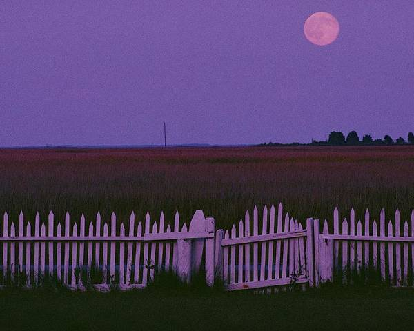 Outdoors Poster featuring the photograph Full Moon Rising Over A Picket Fence by Robert Madden