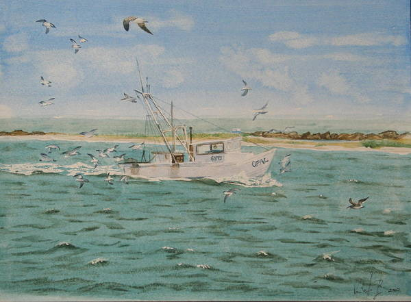 Seascape Poster featuring the painting Full Nets by Monika Degan