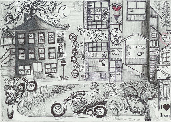 Fun Time Poster featuring the drawing Fun Time In Jerome Az by Ingrid Szabo