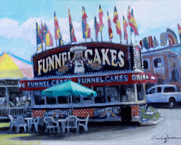 Carnival Paintings Poster featuring the painting Funnel Cakes by David Zimmerman