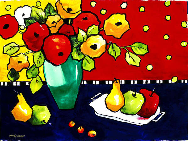Painting Poster featuring the painting Funny Flowers and Fruit by Carrie Allbritton