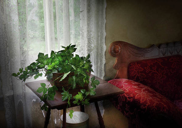 Hdr Poster featuring the photograph Furniture - Plant - Ivy In A Window by Mike Savad