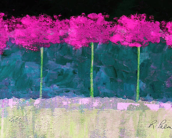 Abstract Poster featuring the painting Fuschia Trees by Ruth Palmer