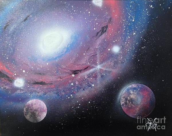 Galaxy Poster featuring the painting Galaxy by Tyler Haddox