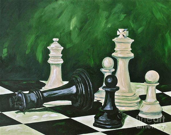 Toys / Games Kids Games Chess Game King Kids Toys Poster featuring the painting Game Over by Herschel Fall