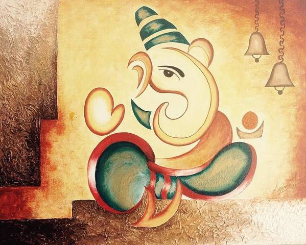 Ganesha Poster featuring the painting Ganesha's Blessing by Seema Jain