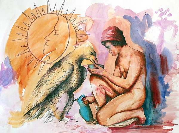 Mythology Poster featuring the painting Ganymede And Zeus by Rene Capone