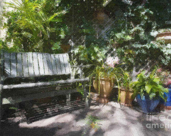 Garden Bench Flowers Impressionism Poster featuring the photograph Garden bench by Sheila Smart Fine Art Photography