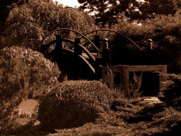 Sepia Poster featuring the photograph Garden Bridge by Audrey Venute