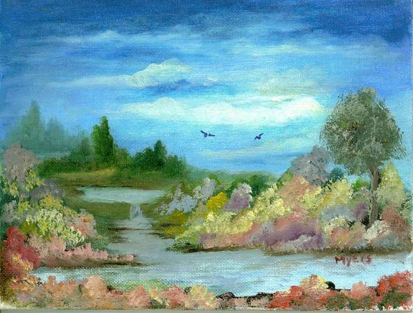 Sky Poster featuring the painting Garden By A Stream by Rhonda Myers