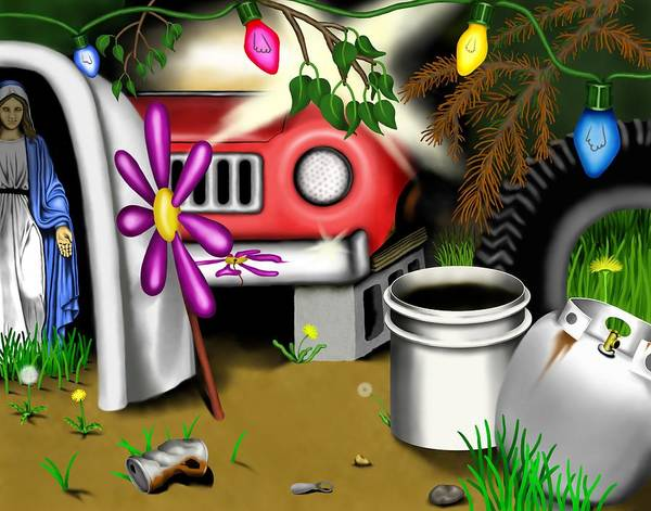 Surrealism Poster featuring the digital art Garden Landscape I - Into The Trailorpark by Robert Morin