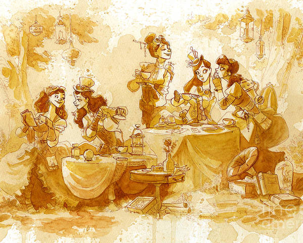 Steampunk Poster featuring the painting Garden Party by Brian Kesinger