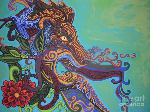 Gargoyle Lion Poster featuring the painting Gargoyle Lion by Genevieve Esson
