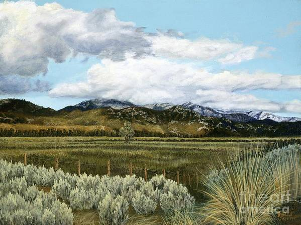 Landscape Painting Poster featuring the painting Garner Valley Meadow by Jiji Lee