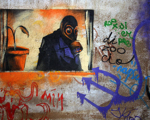 Graffite Poster featuring the photograph Gas Mask by Bryan Hochman