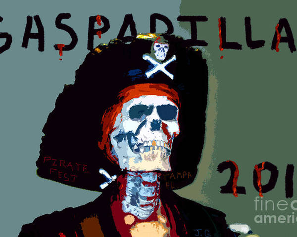 Gasparilla Pirate Festival Poster featuring the painting Gasparilla 2011 Work Number Two by David Lee Thompson