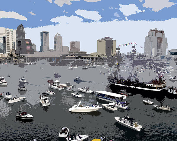 Gasparilla Poster featuring the painting Gasparilla Invasion Work Number 3 by David Lee Thompson
