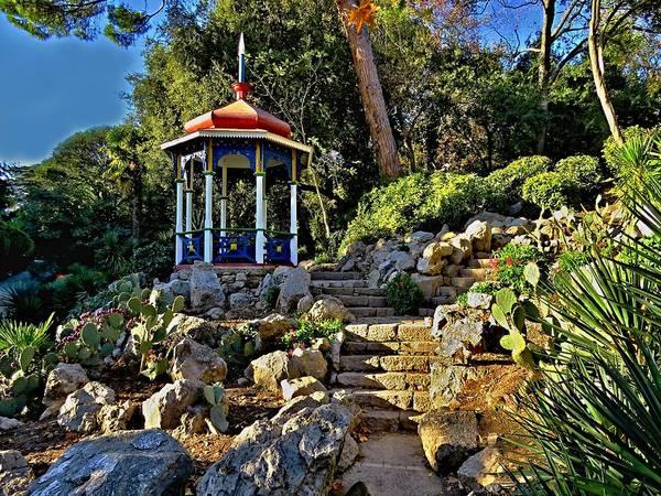 Nikitsky Botanical Garden Poster featuring the photograph Gazebo And Garden On A Hillside by Rick Todaro