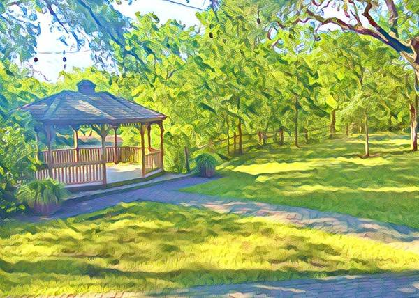 Gazebo Poster featuring the digital art Gazebo On Onion Creek by Wendy Biro-Pollard