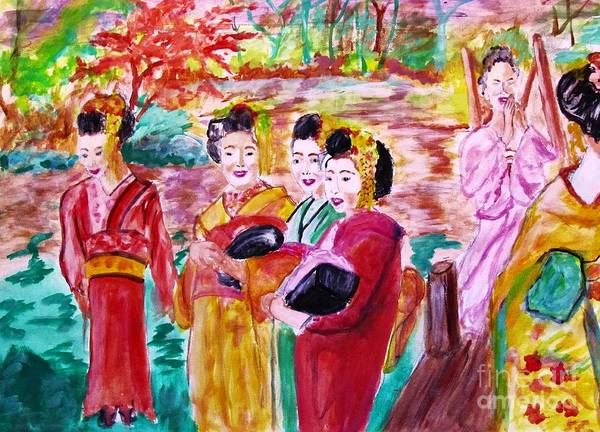 Geisha Poster featuring the painting Geisha Girl Friends by Stanley Morganstein