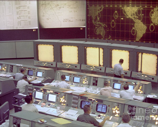 Gemini Program Poster featuring the photograph Gemini Mission Control by Nasa/Science Source