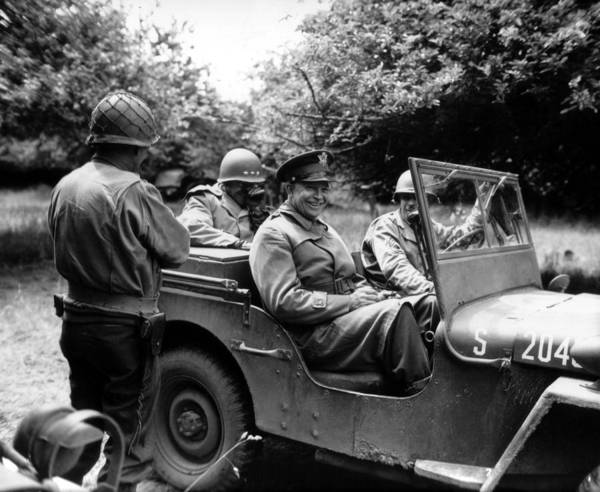 Eisenhower Poster featuring the photograph General Eisenhower In A Jeep by War Is Hell Store