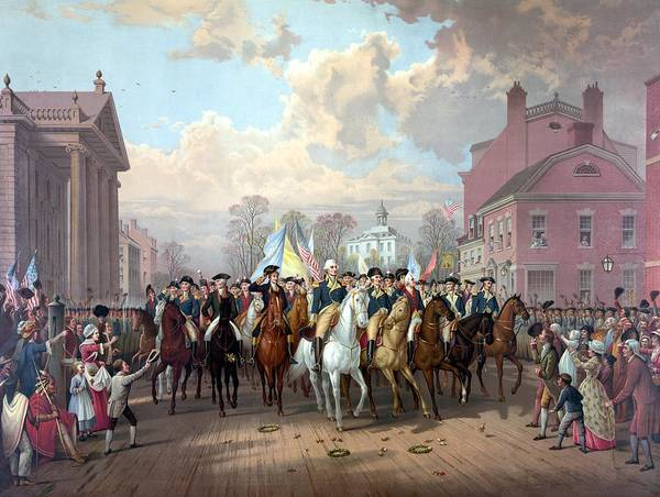 George Washington Poster featuring the painting General Washington Enters New York by War Is Hell Store