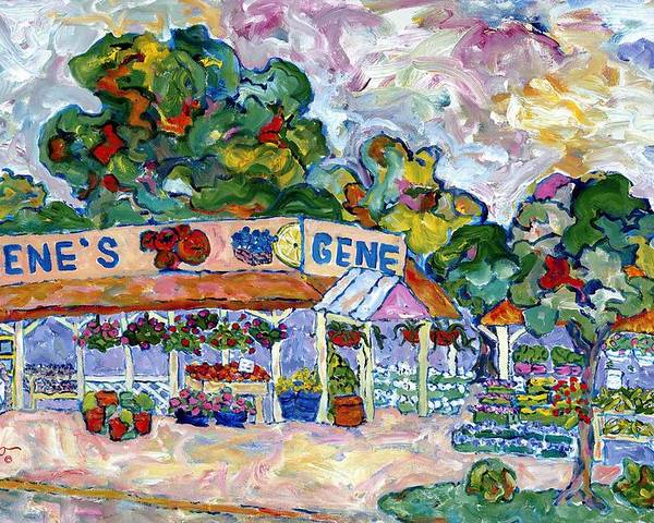 Roadside Farm Stand In Atlantic County Poster featuring the painting Gene's Farm Stand by Popo Flanigan