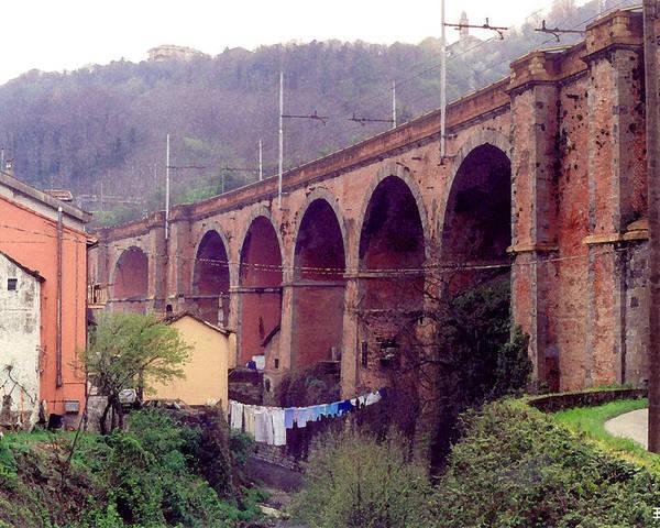Genoa Poster featuring the digital art Genoa Railroad Bridge by Al Blackford