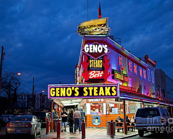 Philadelphia Poster featuring the photograph Geno's Steaks South Philly by John Greim
