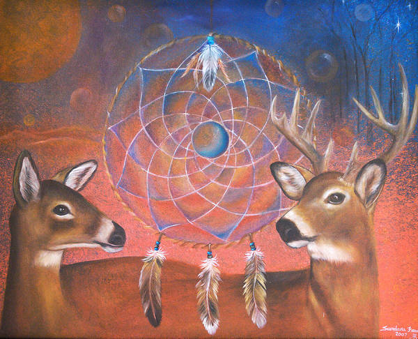 Deer Poster featuring the painting Gentle Love by Sundara Fawn