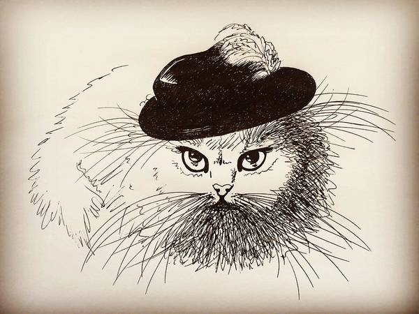 Cat Poster featuring the drawing Gentleman by Pookie Pet Portraits