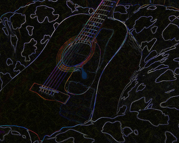 Guitar Poster featuring the digital art Gently Weeps by Holly Ethan