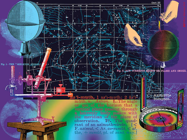 Digital Collage Poster featuring the digital art Geography And Voyaging Homage To Joseph Cornell by Eric Edelman